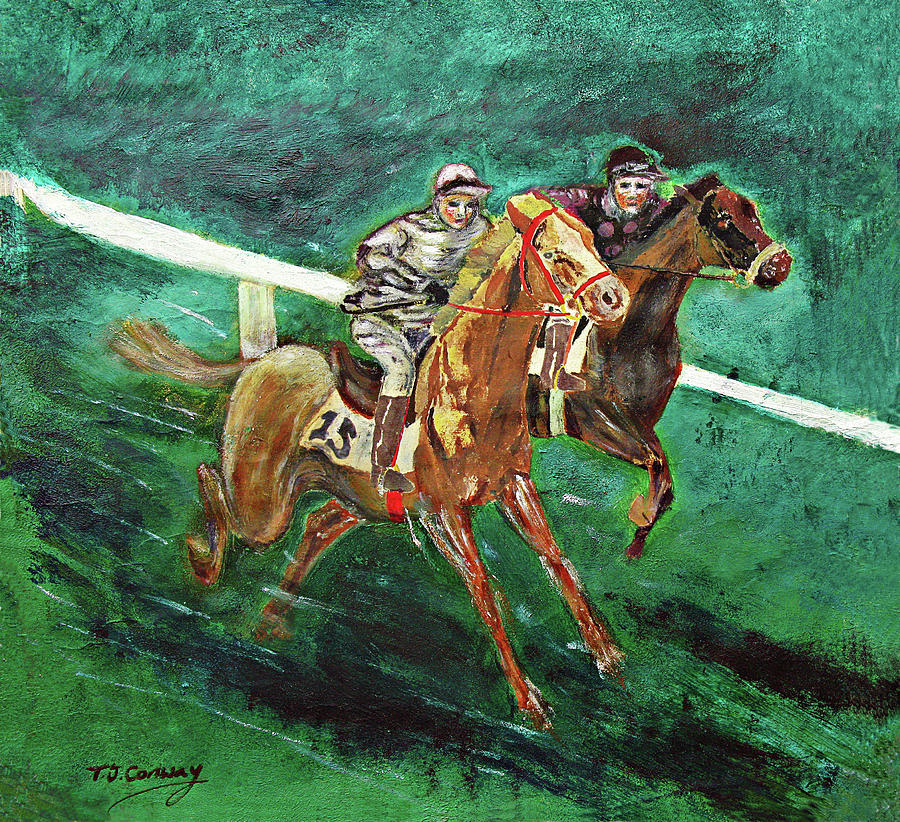 Horse Painting - Two Horse Race by Tom Conway