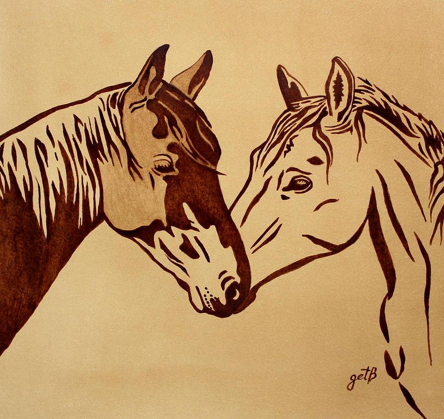Two Horses Love Original Coffee Painting By Georgeta Blanaru