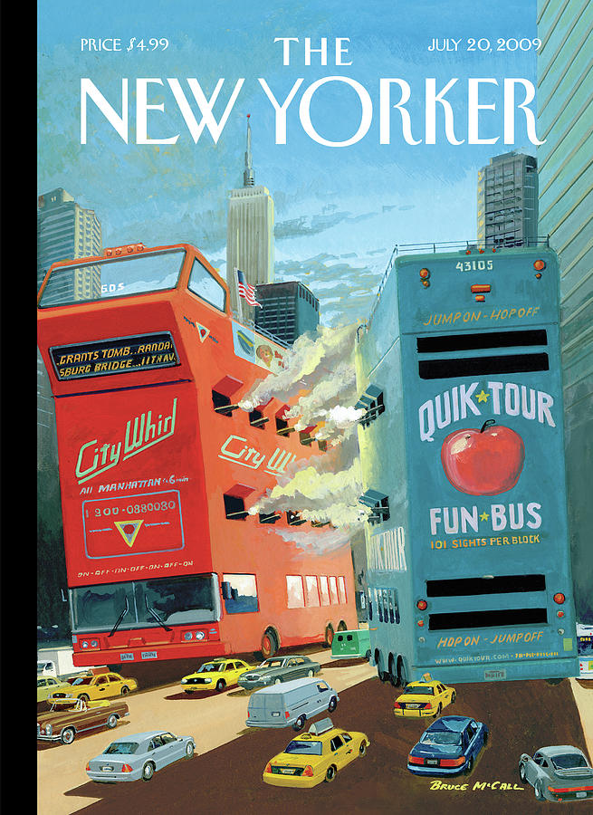 Two Huge Double Decker Tourist Buses Shooting Painting by Bruce McCall