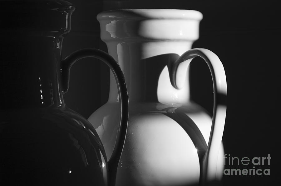 Urns Photograph - Two In Black And White by Terry Rowe
