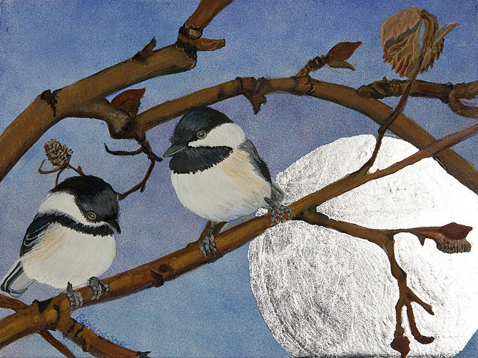Black Capped Chickadee Painting - Two In The Bush by Amy Reisland-Speer