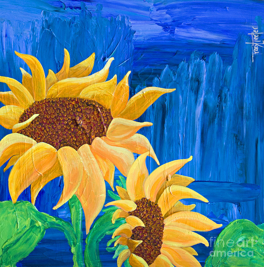 Sunflower Painting - Two In The Sun by Tracy L Teeter