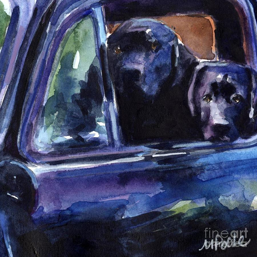 Black Labrador Painting - Two Into Fifty One by Molly Poole