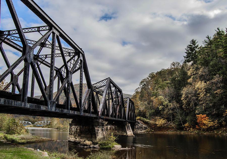 Railroad Photograph - Two Iron Bridges by Anthony Thomas