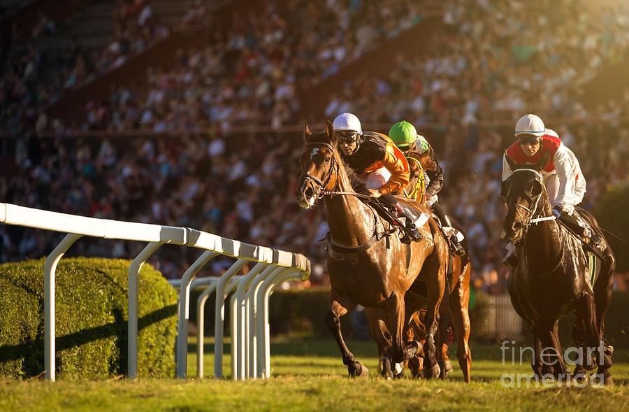 Equestrian Photograph - Two Jockeys During Horse Races by Vladimir Hodac