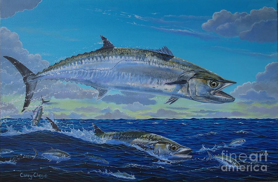 Kingfish Painting - Two Kings by Carey Chen