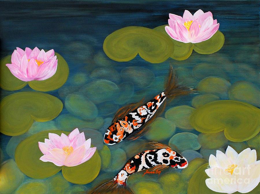 Two koi fish and lotus flowers painting by oksana semenchenko for Koi fish pond lotus