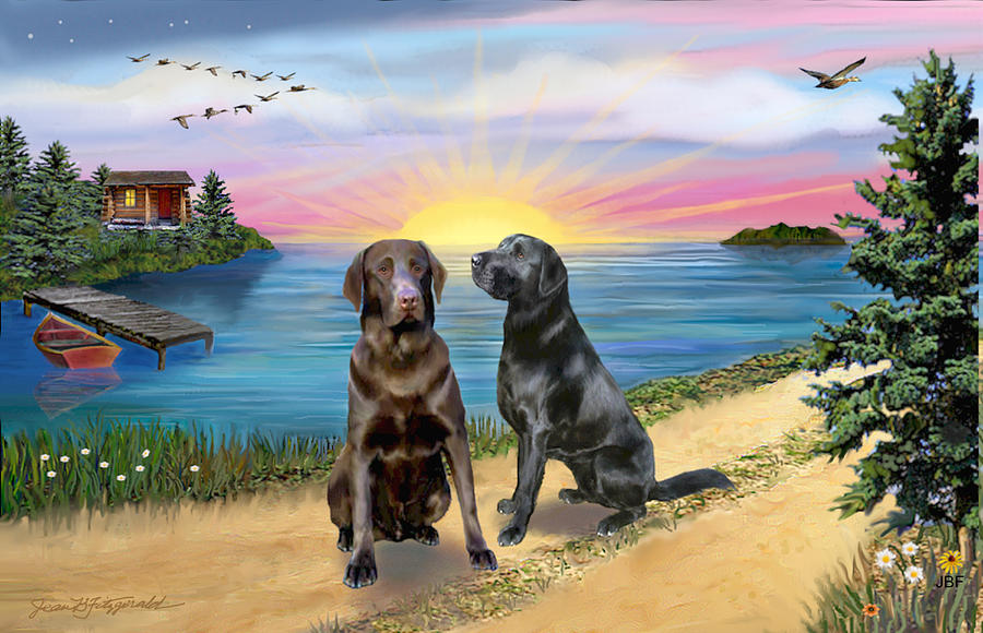 Chocolate Lab Digital Art - Two Labs At The Lake by Jean B Fitzgerald