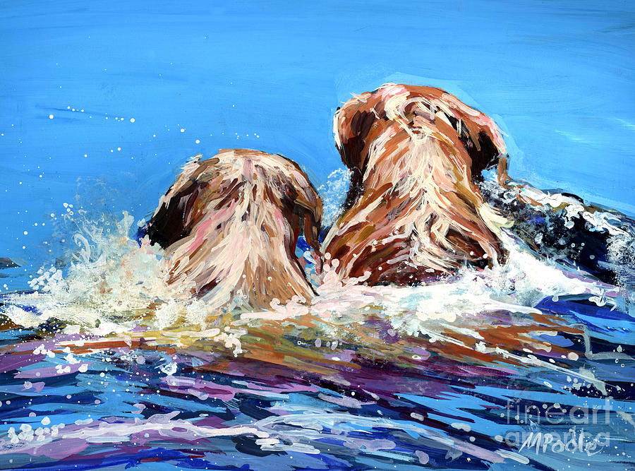 Yellow Labrador Retrievers Painting - Two Labs One Wake by Molly Poole