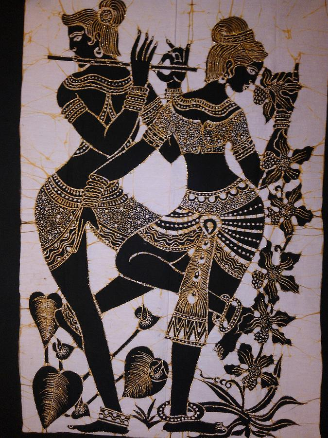 Two Lady Dancers Tapestry Textile By Community In Sri Lanka