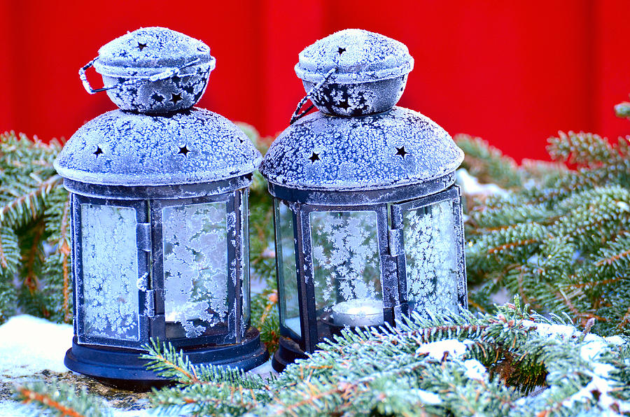 Sweden Photograph - Two Lanterns Frozty by Tommytechno Sweden
