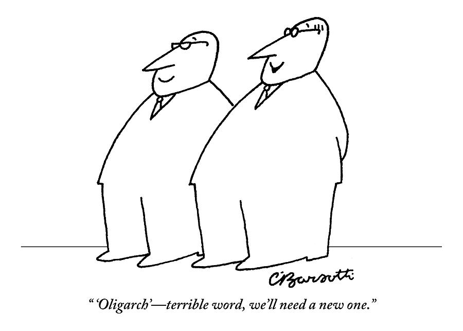 Two Large Men Wearing Suits Drawing by Charles Barsotti