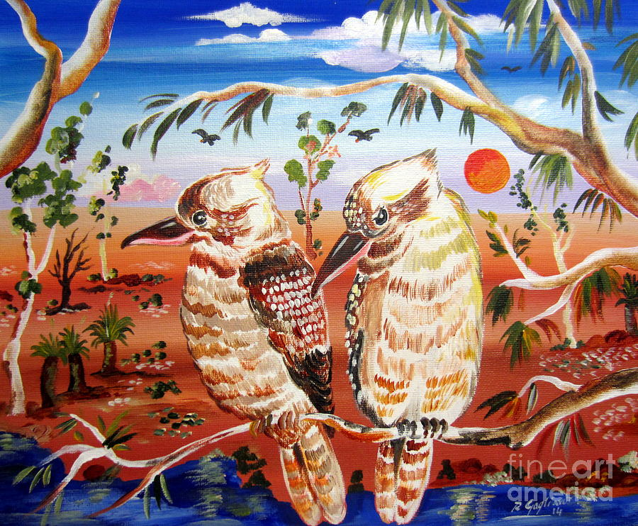 Two laughing kookaburras in the outback australia painting for Australian mural artists