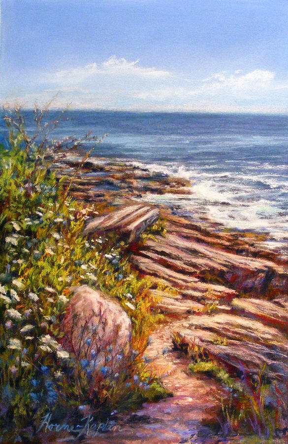 State Parks Pastel - Two Lights State Park by Denise Horne-Kaplan