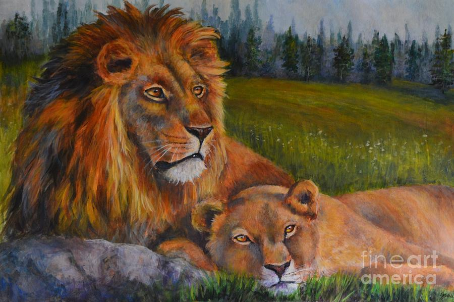 Landscape Painting - Two Lions by Jana Baker