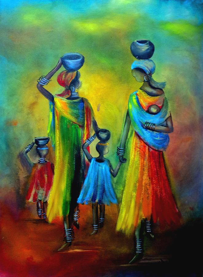 Two Little Girls Carrying Water Painting by Marietjie Henning
