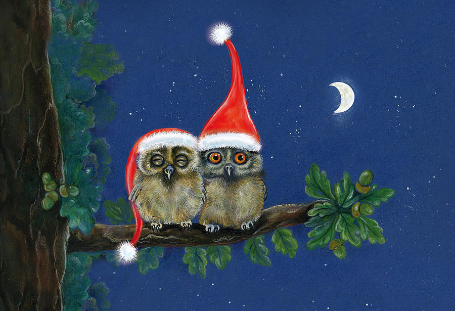 Owl Painting - two little owls with Christmas caps by Marina Durante