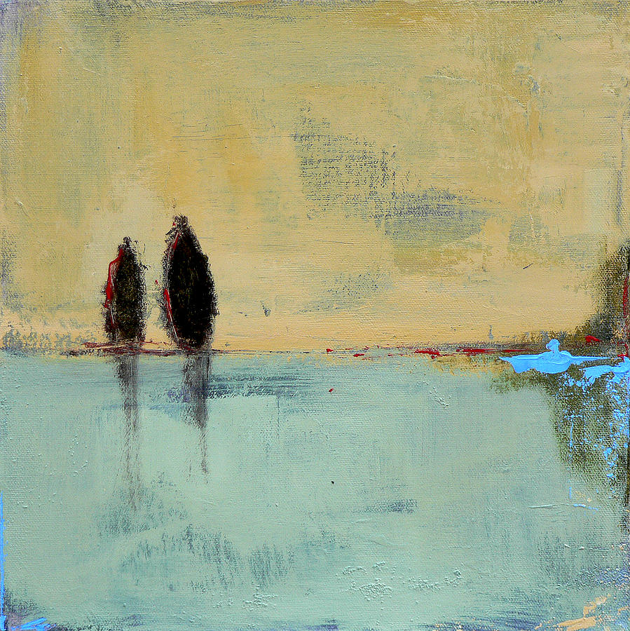 Abstract Landscape Painting - Two Lovers on the Line by Jacquie Gouveia
