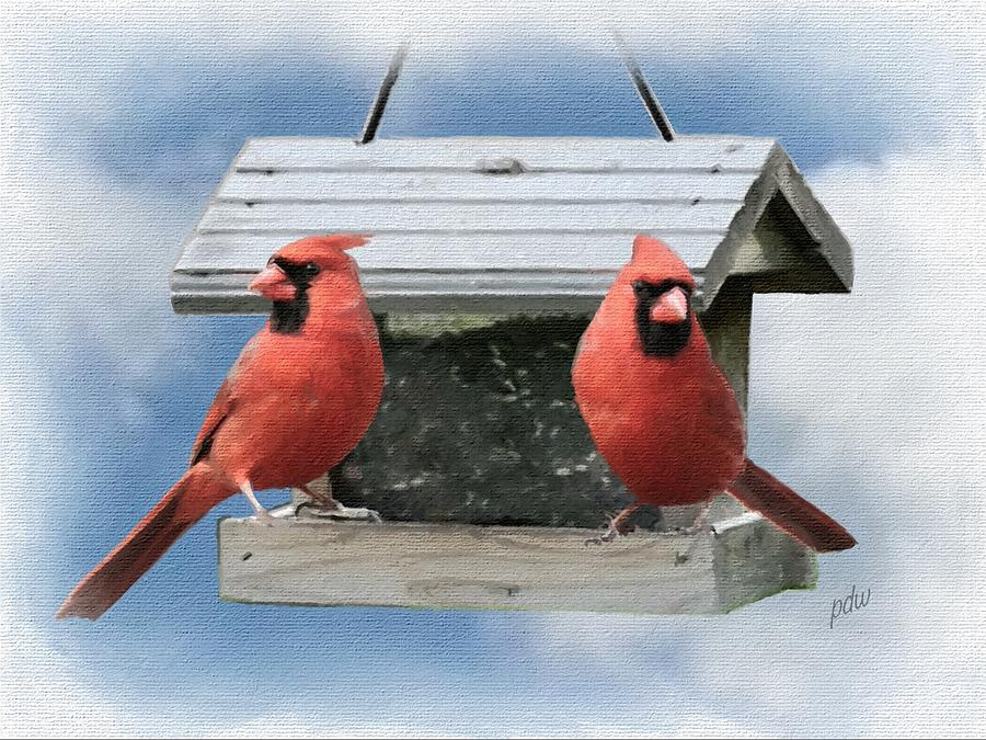 Birds Painting - Two Male Cardinals At One Feeder by Philip White