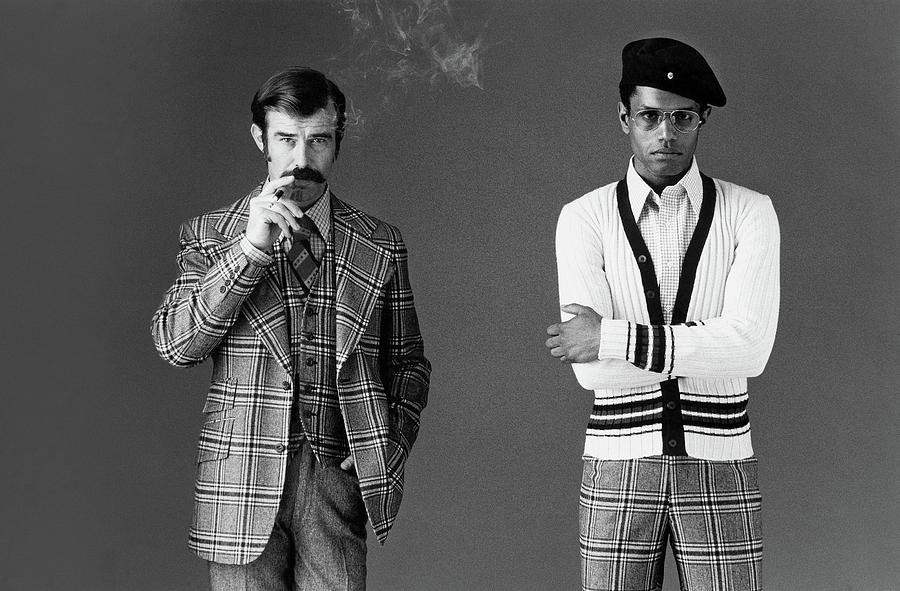 Two Male Models Wearing 1970s Style Clothing Photograph by Bill Cahill