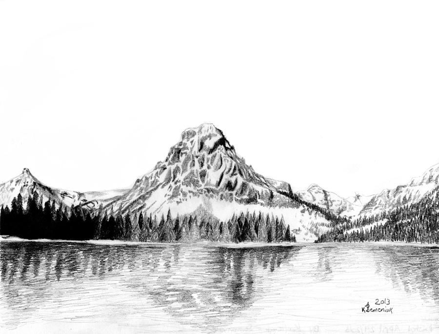Mountain Drawing - Two Medicine Mountain by Kayleigh Semeniuk