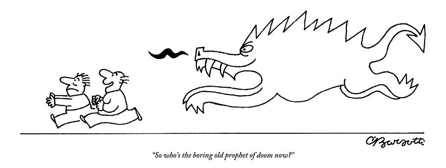 Two Men Are Chased By A Demonic Monster Drawing by Charles Barsotti