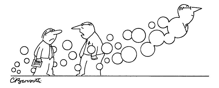 Two Men Are Speaking With Each Other As Bubbles Drawing by Charles Barsotti