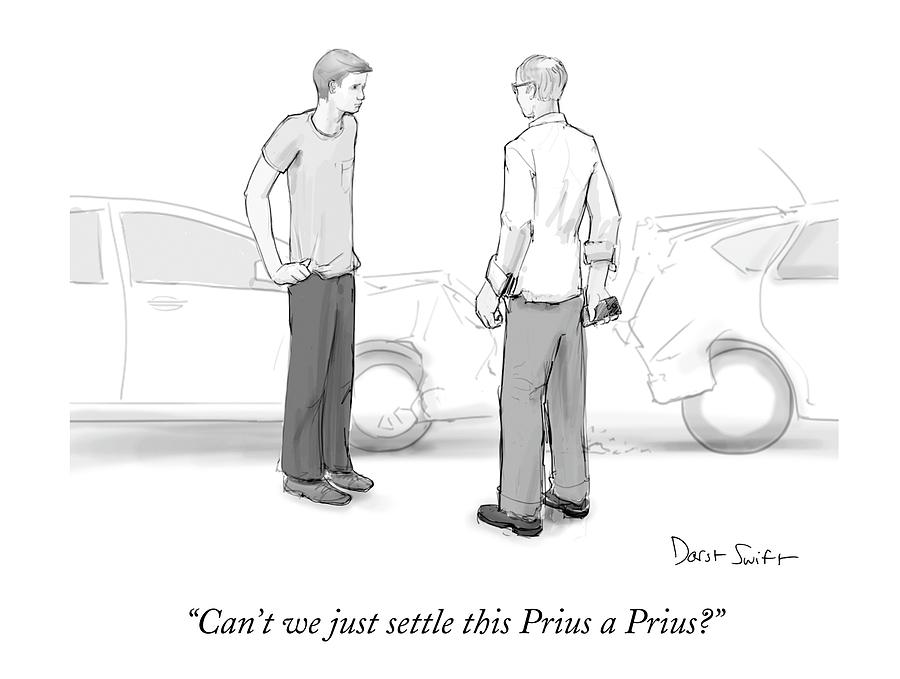 Two Men Converse Next To A Rear-end Car Accident Drawing by Jeanne ...