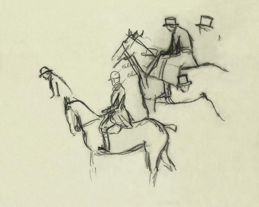 Two Men Horse Riding Digital Art by Carl Oscar August Erickson