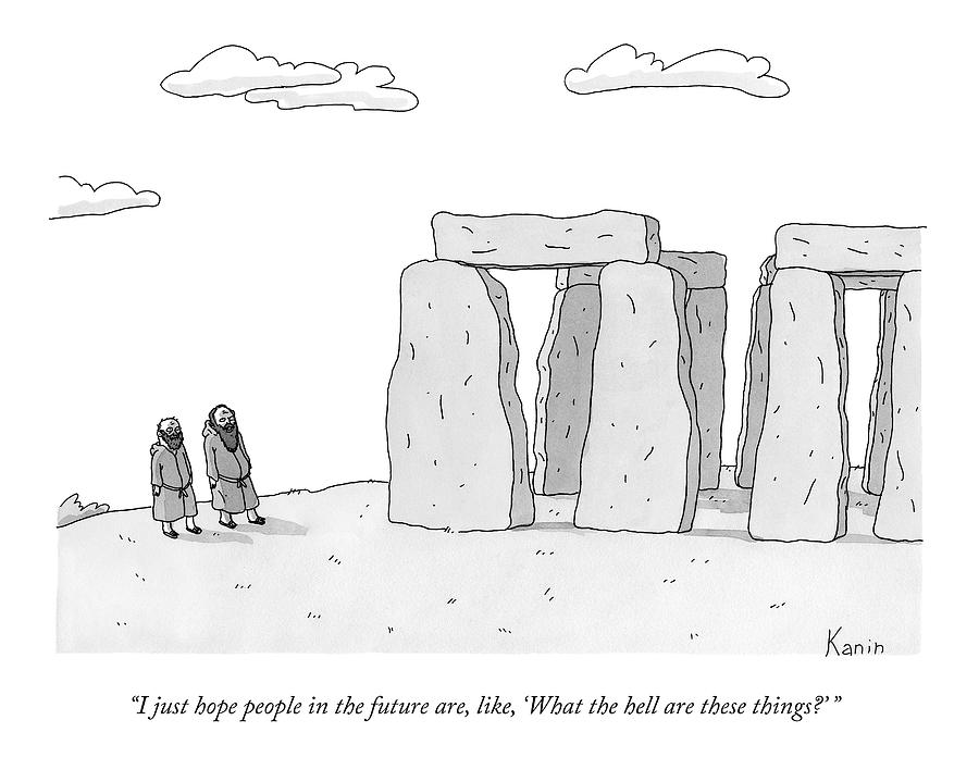 Two Men In Robes Chat Beside Stonehenge Drawing by Zachary Kanin