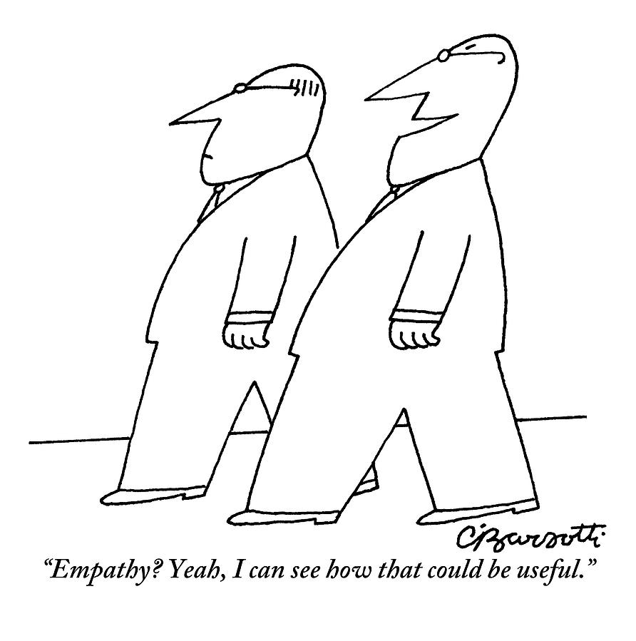 Two Men In Suits Are Seen Walking And Talking Drawing by Charles Barsotti
