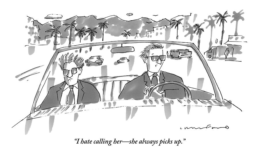 Two Men In Suits Riding In A Convertible Drawing by Michael Crawford