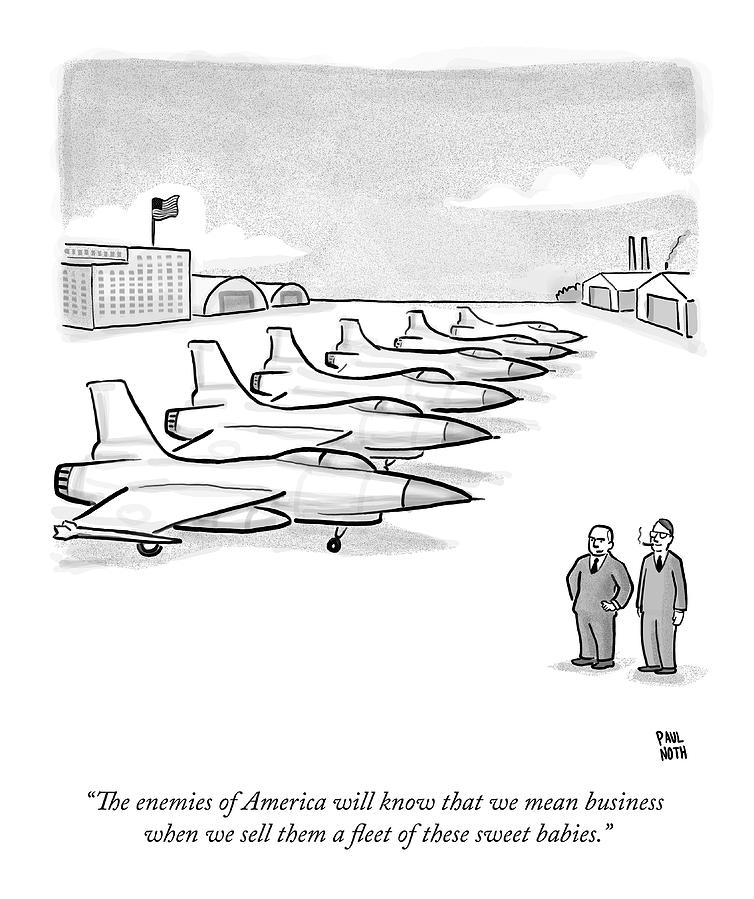 Two Men Look At A Hanger Of Fighter Jets Drawing by Paul Noth