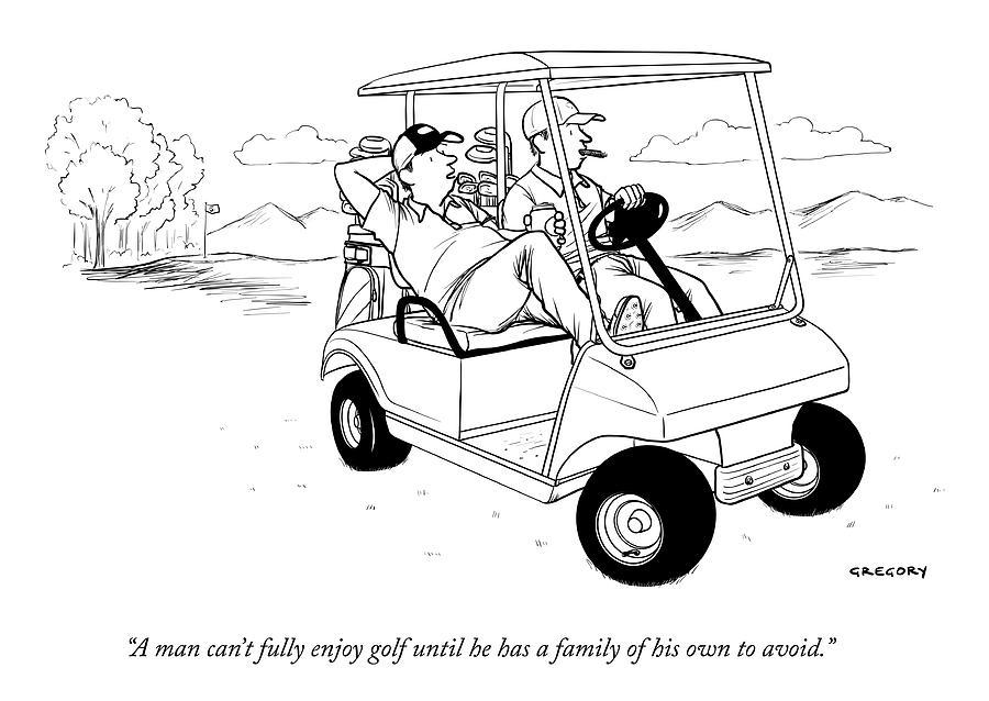 Two Men Ride In A Golf Cart Drawing by Alex Gregory