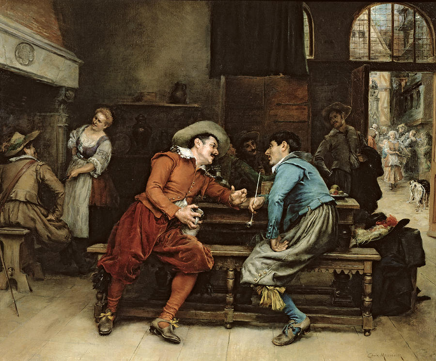 Two Men Talking In A Tavern Painting by Jean Charles Meissonier