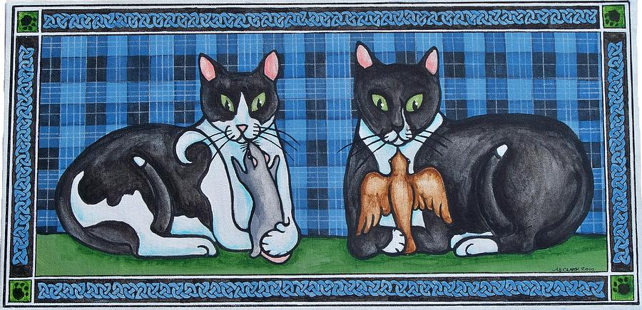 Cats Painting - Two Mewses by Beth Clark-McDonal