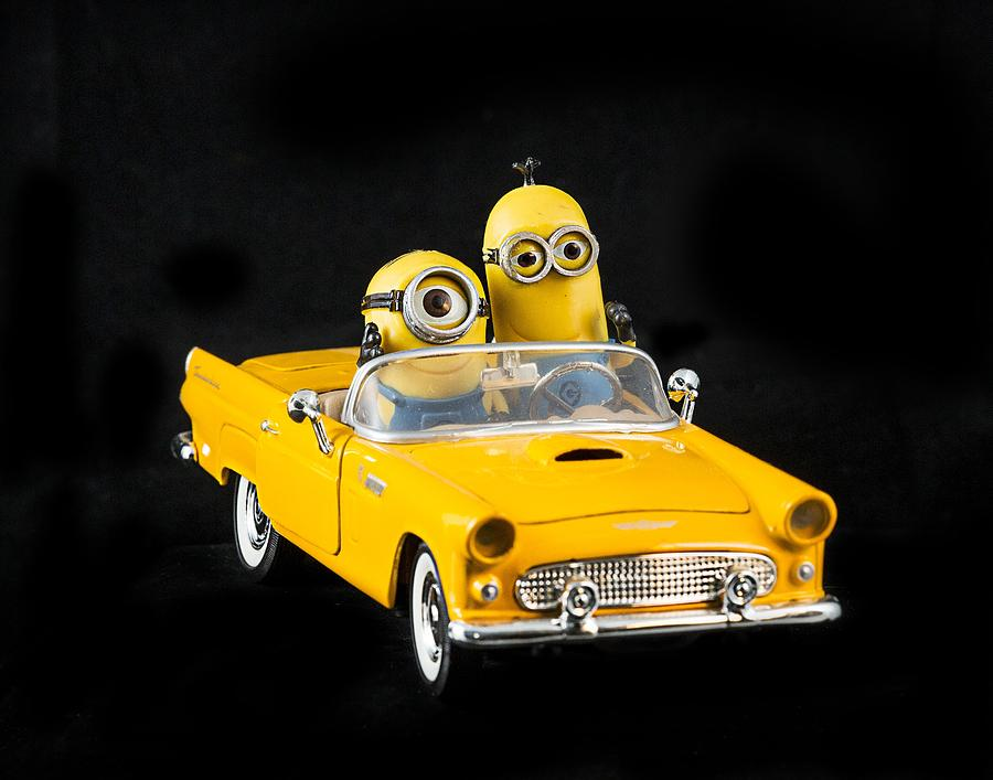 Race Track Wall Art >> Two Minions In Yellow Car Photograph by Lisa Cuchara