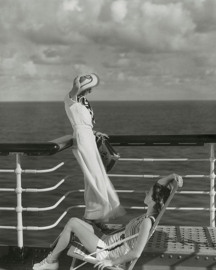 Two Models On The Deck Of A Cruise Ship Photograph by Edward Steichen