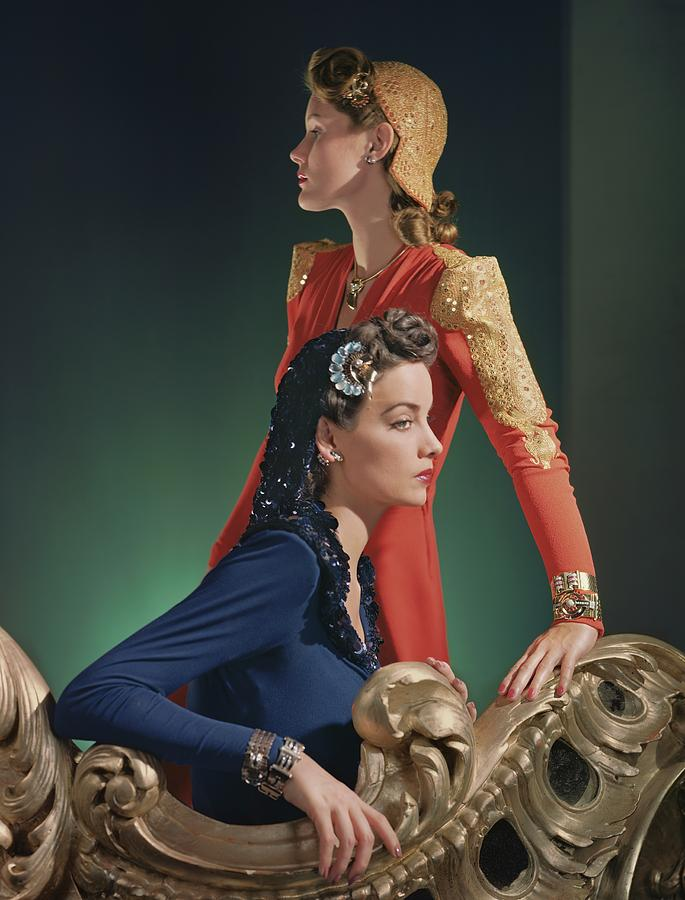 Two Models Wearing Evening Gowns Photograph by Horst P. Horst
