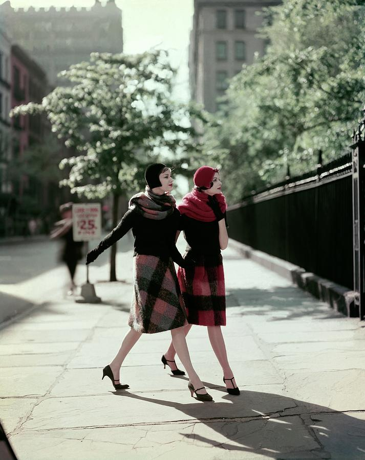 Two Models Wearing Plaid Mohair Skirts And Stoles Photograph by Sante Forlano