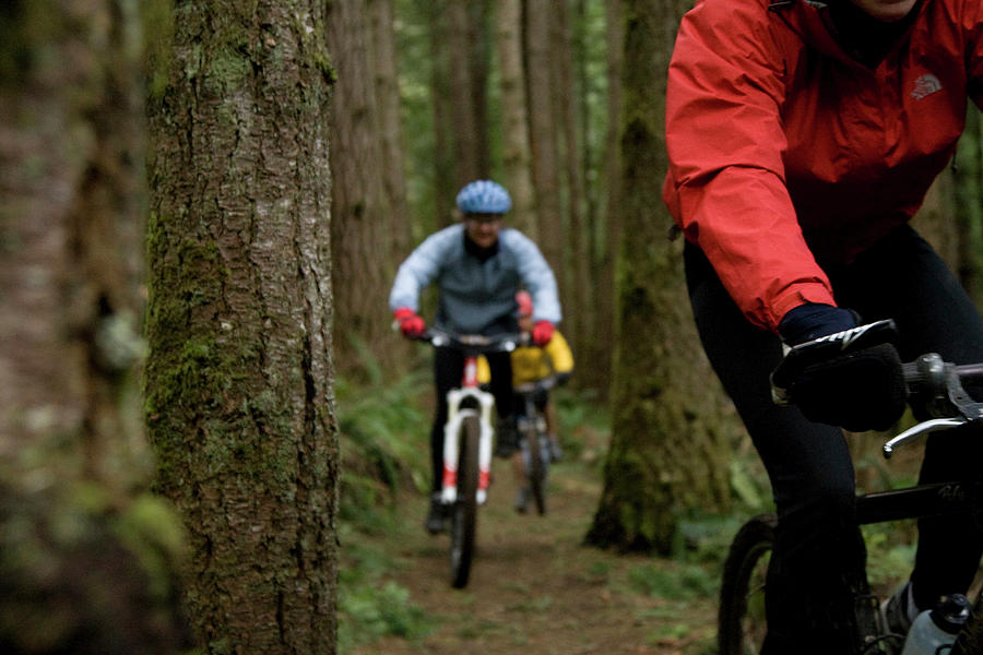 Action Photograph - Two Mountain Bikers Out Riding A Single by Jordan Siemens