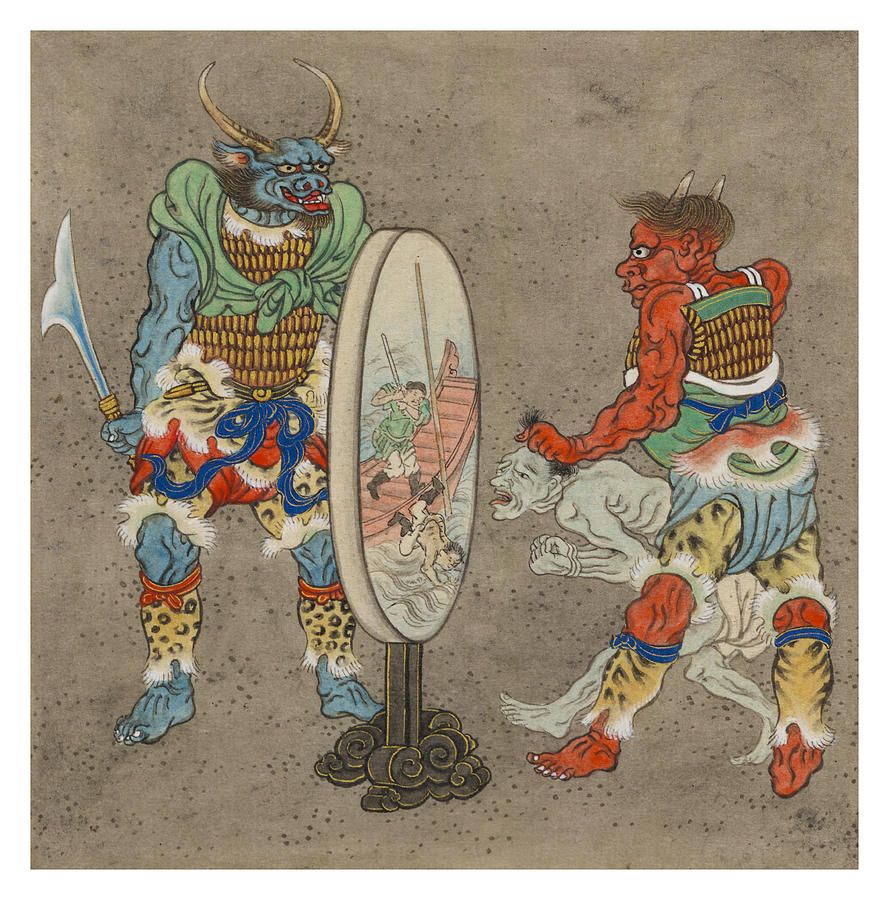 Myth Painting - Two Mythological Buddhist Or Hindu Figures Circa 1878 by Aged Pixel