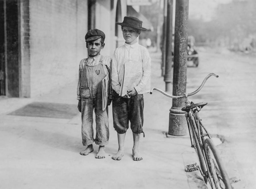 Two Newspaper Boys Photograph