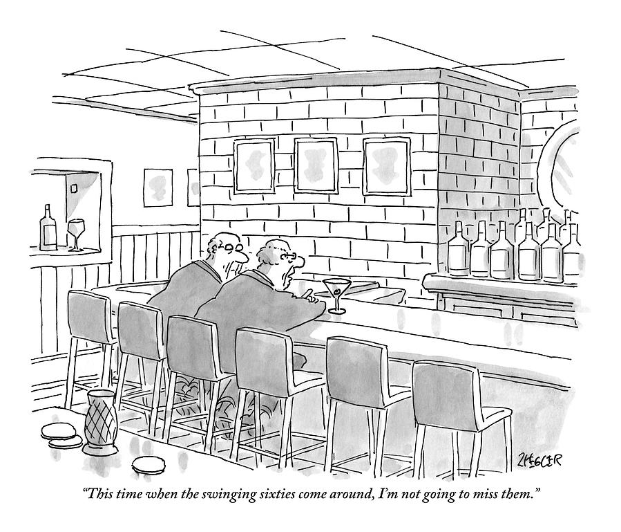 Two Older Men Are Sitting An An Empty Bar Talking Drawing by Jack Ziegler