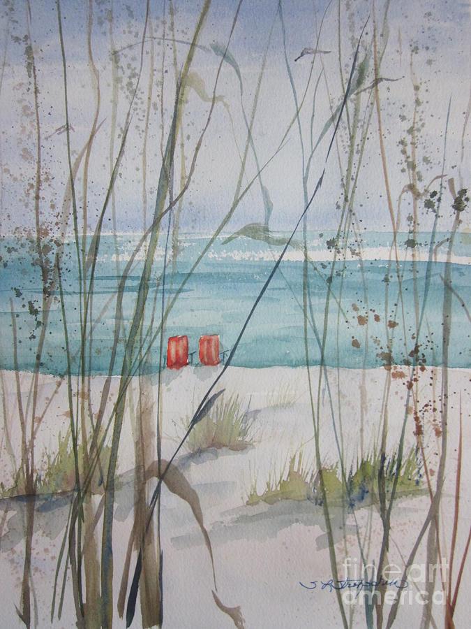 Marco Island Painting - Two Orange Chairs by Sandra Strohschein