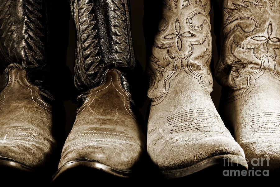 Cowboy Photograph - Two Pair Of Cowboy Boots Are Better Than One by Lincoln Rogers