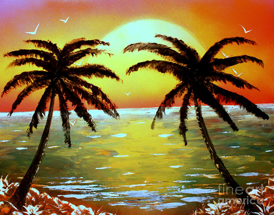 Seascape Painting - Two Palms by Greg Moores