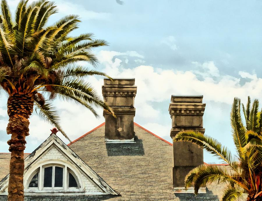 Roof Photograph - Two Palms Two Chimneys And Gable by James Stough