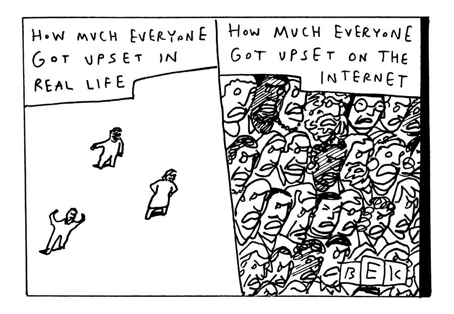 Two Panels: How Much Everyone Got Upset In Real Drawing by Bruce Eric Kaplan
