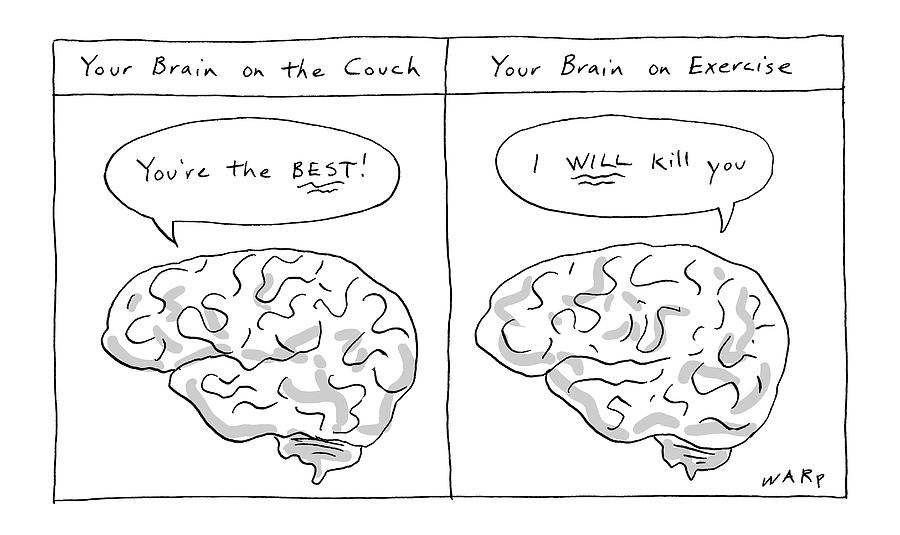 Two Panels: Your Brain On The Couch Brain Saying Drawing by Kim Warp